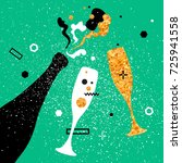 champagne flutes and bottle...   Shutterstock . vector #725941558