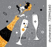 champagne flutes and bottle... | Shutterstock . vector #725941660