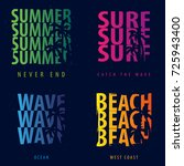 summer graphic with palms. t... | Shutterstock .eps vector #725943400