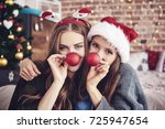 having a crazy day with friend  ... | Shutterstock . vector #725947654