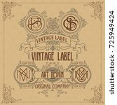 old vintage card with floral... | Shutterstock .eps vector #725949424