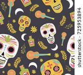 mexican sugar skull  day of the ... | Shutterstock .eps vector #725953894