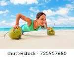 active woman doing fitness... | Shutterstock . vector #725957680
