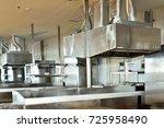 big steel stainless cooker hood ... | Shutterstock . vector #725958490