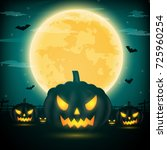 halloween night background with ... | Shutterstock .eps vector #725960254