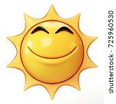 cartoon sun emoji isolated on... | Shutterstock . vector #725960530