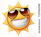 cartoon sun with sunglasses... | Shutterstock . vector #725960548