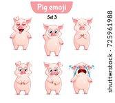 vector set of cute pig... | Shutterstock .eps vector #725961988