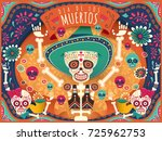 Stock vector cheerful day of the dead poster colorful skeleton and skulls dancing happily in orange and 725962753