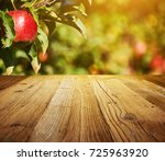 table space and apple garden of ... | Shutterstock . vector #725963920