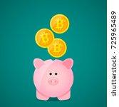 pig piggy bank and falling gold ... | Shutterstock .eps vector #725965489