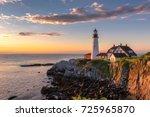 portland head light at sunrise... | Shutterstock . vector #725965870