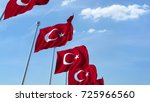 Row Of Waving Flags Of Turkey...