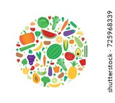 vector banner with fruits and...   Shutterstock .eps vector #725968339