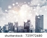 modern cityscape with buildings ... | Shutterstock . vector #725972680
