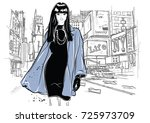 fashion woman in sketch style... | Shutterstock .eps vector #725973709