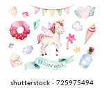isolated cute watercolor... | Shutterstock . vector #725975494