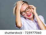 beautiful woman with short hair ... | Shutterstock . vector #725977060
