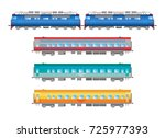 flat  railway locomotive and... | Shutterstock . vector #725977393
