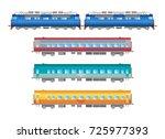 flat  railway locomotive and... | Shutterstock . vector #725977393