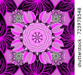 Flowers On Black  Magenta And...