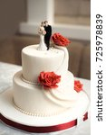 classic wedding cake in red and ... | Shutterstock . vector #725978839