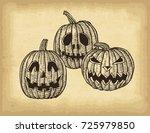 hand drawn halloween pumpkins...   Shutterstock .eps vector #725979850