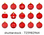 red christmas balls with... | Shutterstock .eps vector #725982964