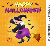 halloween card with funny old... | Shutterstock .eps vector #725983780