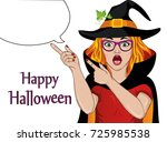 Halloween. Surprised Girl In...