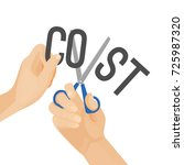 human hands cutting word cost ... | Shutterstock .eps vector #725987320