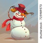 scary snowman vector ... | Shutterstock .eps vector #725989573