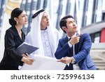 working woman and arab people... | Shutterstock . vector #725996134