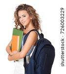 beautiful young brunette... | Shutterstock . vector #726003229