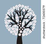 Stylized Flowering Tree On Gra...
