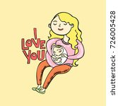 i love you. pregnant girl.... | Shutterstock .eps vector #726005428