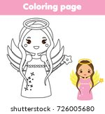 coloring page with cute angel... | Shutterstock .eps vector #726005680