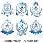 set of old style heraldry... | Shutterstock .eps vector #726006184