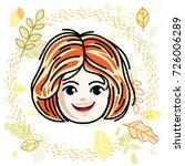 cute girls face  human head.... | Shutterstock .eps vector #726006289
