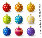 set of christmas balls with... | Shutterstock .eps vector #726009358
