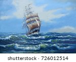 ship  sea oil paintings... | Shutterstock . vector #726012514