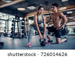 young couple is working out at... | Shutterstock . vector #726014626