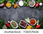 set of various spices and herbs ... | Shutterstock . vector #726019636