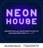 bright neon alphabet letters ... | Shutterstock .eps vector #726020470