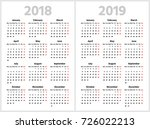 simple calendar for 2018 and... | Shutterstock .eps vector #726022213