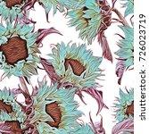 seamless pattern of sunflowers. ... | Shutterstock . vector #726023719