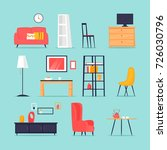 furniture in the interior set.... | Shutterstock .eps vector #726030796