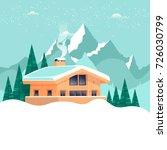 chalet  winter landscape with... | Shutterstock .eps vector #726030799