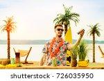 handsome bartender standing... | Shutterstock . vector #726035950