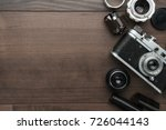 top view of retro film camera... | Shutterstock . vector #726044143
